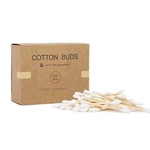 planuuik 200 pièces Coton-Tige en Bambou à Double Pointe bourgeons bâtons d'oreille en Bois biodégradables