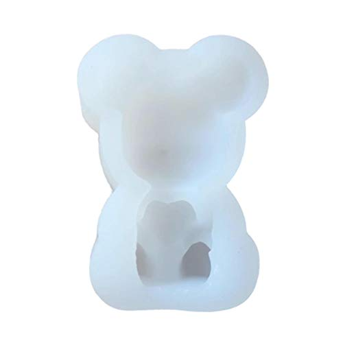 Ruilonghai 3D Teddybär Silikonform - 3D Bär Fondantform - Herz Silikon Tier Eiswürfelform - DIY Seifenform Kerzenform für Eiswürfel, Schokolade, Gummi, Kuchen Cupcake Topper Dekor Backen