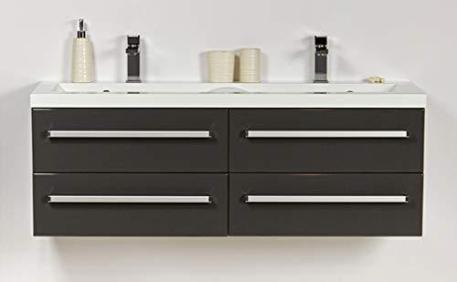 Quentis Badmöbelset Genua, Breite 120 cm, anthrazit glänzend, Doppelwaschbecken und Waschbeckenunterschrank mit 4 Schubladen, Unterschrank montiert