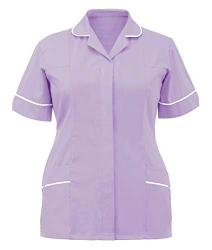 Islander Fashions Damen Gesundheitswesen Rei�Verschluss Ergattertes Krankenschwester TunikaOberfrauenklinik Uniform Flieder/Wei� EU 50
