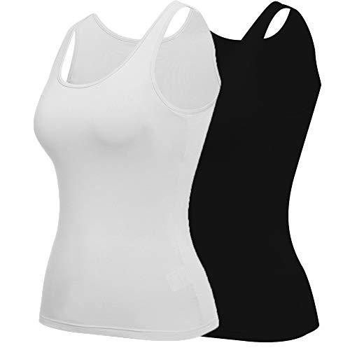 STARBILD 2er Pack Damen 2 in 1 Unterhemd super leicht BH-Hemden mit Eingebauter Cups Tank Tops Schwarz+Weiß S