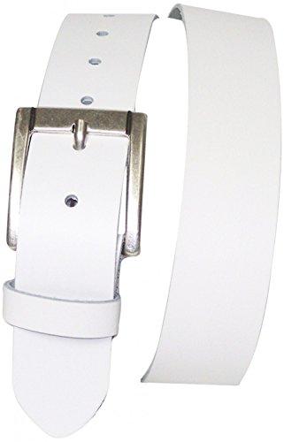 FRONHOFER Gürtel 4 cm günstiger Ledergürtel | klassische Gürtelschnalle in silber | Anzuggürtel in vielen Farben 17626, Größe:Körperumfang 95 cm/Gesamtlänge 110 cm, Farbe:Weiß