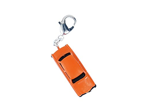 Miniblings Trabbi Auto DDR Charm Trabant Trabi orange - Handmade Modeschmuck I Kettenanhänger versilbert - Bettelanhänger Bettelarmband - Anhänger für Armband
