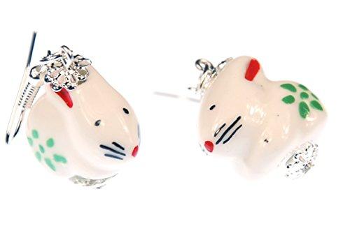 Häschen Ohrringe Hase Osterhase Hänger Miniblings Ostern Keramik Porzellan weiß