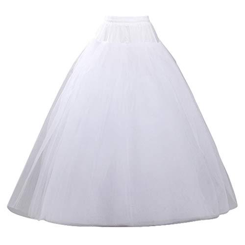 Women's Hoopless Petticoat Crinoline Underskirt Slips Petticoats Wedding Accessories (One Size, White)
