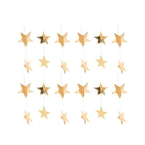 PRETYZOOM gouden glitter ster papier slinger opknoping decoratie foto rekwisieten voor bruiloft verjaardag carnaval Pasen baby douche partij benodigdheden 12 Stks Size 1 goud