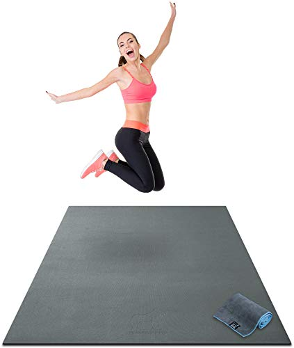 Premium Large Exercise Mat - 6' x 4' x 1/4' Ultra Durable, Non-Slip, Workout Mats for Home Gym Flooring - Plyo, Jump, Cardio, MMA Mats - Use With or Without Shoes (72' Long x 48' Wide x 6mm Thick)