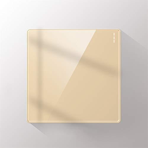 Foicags Tipo de interruptor 86 Plexiglás oculto Panel de panel grande Interruptor de llave incrustado Nordic Gold Light Switch Moda COMPROMISIÓN COMERCIAL DE MODA (Color : 1 Gang 1 Way)