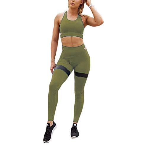 Hotexy - Conjunto de 2 piezas de calzas de yoga de talle alto con sujetador deportivo elástico para mujer - Verde - Large