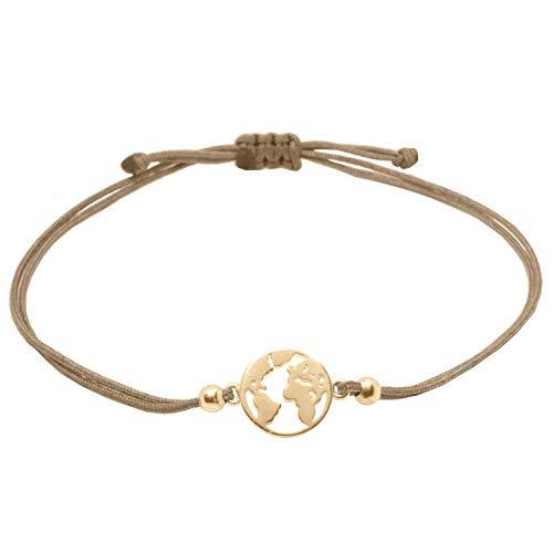 Selfmade Jewelry World Armband - Weltkarten Welt Armkettchen in Roségold Band Braun Größenverstellbar