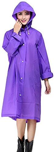 Vrouwen en Mannen regenjas met capuchon Poncho verdikking EVA waterdicht winddicht Outdoor Travel Translucent Jacket (Color : Purple, Size : XL)