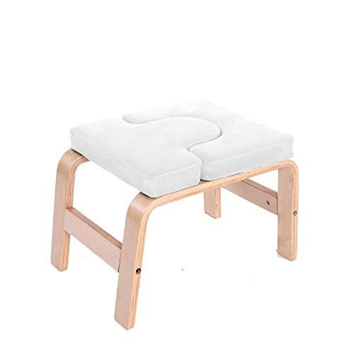 CURVEASSIST Pilates Kopfstand Bank U-förmige Buche-PU Yoga Hocker Multifunktionale Hilfs-Fitness-Stuhl Bequeme Heimausrüstung Weiß,White-OneSize