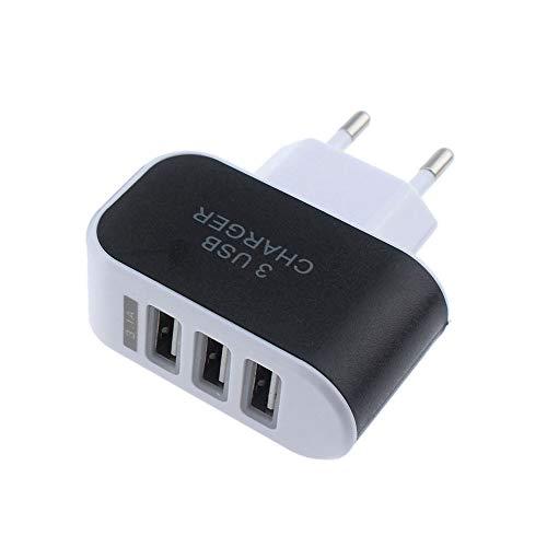 Vimoli USB 5V/3.1A Adaptador de EU Enchufe 3 Puertos Cargador Viaje en Casa de Pared Adaptador Compatible con iPad iPhone Samsung Galaxy Nexus Nokia Huawei y Más (Negro)