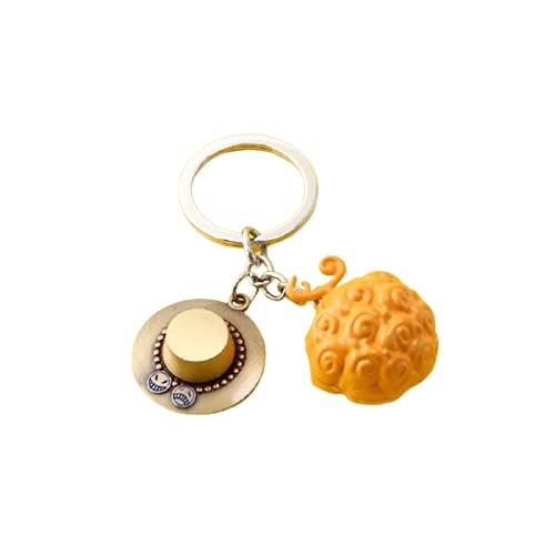 One Piece Keychains no box Luffy ACE Law Devil Fruit Metal Key Chain Ring Pendant Anime Keychain Key Holder Charm Jewelry 2