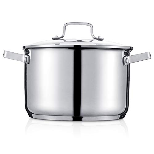 Stainless Steel Stock Pot 6 Qt, Sauce Pan with Glass Lid, Double Handle, A Scale Engraved Inside, Induction Compatible,Dishwasher Safe, Sliver (Gift Box Included)
