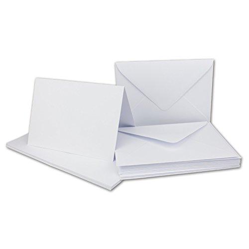 50 x Klapp-Karten Set DIN A6 / C6 Weiß - Karte Din A6-14,8 x 10,5 cm - 240 g/m² mit Brief-Umschlägen DIN C6-11,3 x 16,0 cm - 120 g/m² Weiß Nassklebung