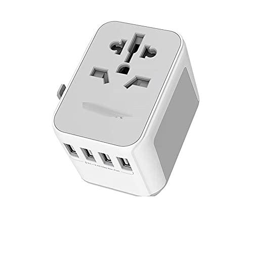 ZXTQW Adaptador de Viaje Adaptador de Viaje Internacional Toma de Corriente con 4 USB Puertos de Carga y Fusible de Repuesto Enchufe Universal Toma eléctrica Adaptador de Enchufe de Viaje