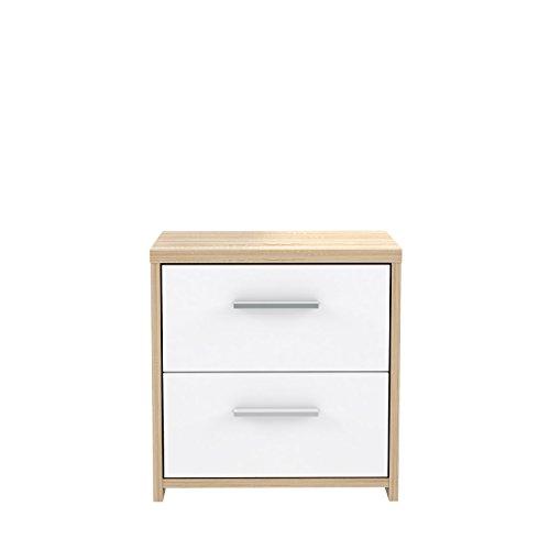FORTE Kommode, Holz, Sonoma Eiche Dekor Kombiniert Mit Weiß, 40.3 x 29.6 x 42.3 cm