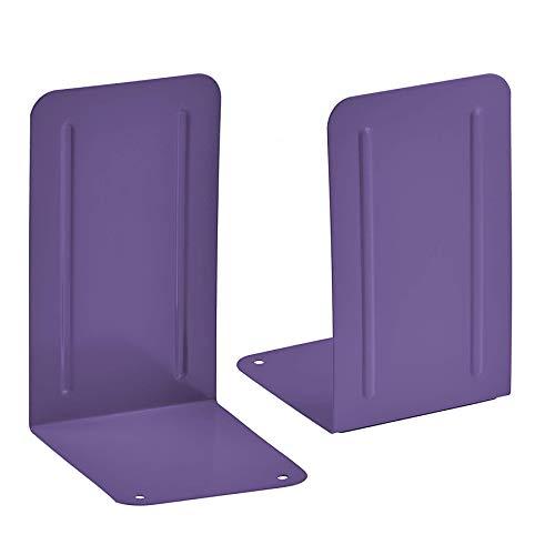 Acrimet Premium Metal Bookends (Heavy Duty) (Purple Color) (1 Pair)