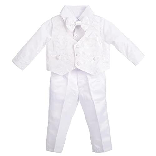 Lito Angels Bebes garçons Costume Blanc Vêtements de baptême Tenues de baptême Floral à Manches Longues Taille 6-9 Mois