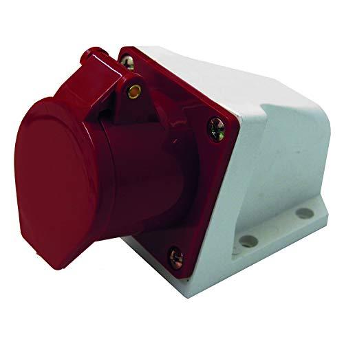 Elektrialine 80872 Industrial stekkerdoos voor de muur, gebogen, 32 A, 3P+N+T, 380 V, rood