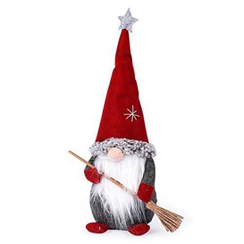 ShiftX4 Gnomos de Navidad, Papá Noel de pie con escoba Navidad enano gnomo muñeca adornos lindo enano ornamento de Navidad