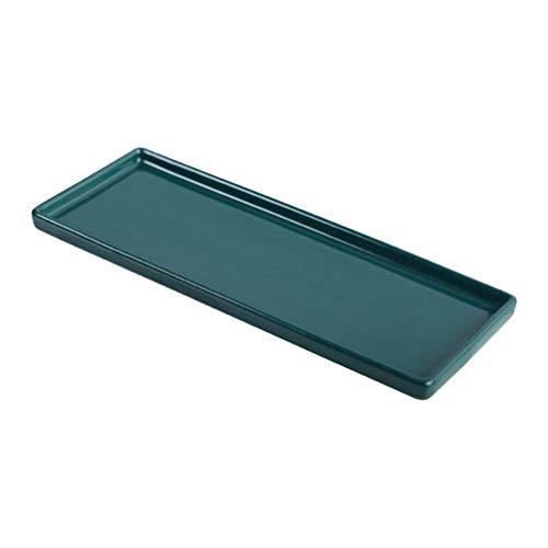 Cabilock Keramik Waschtisch Tablett Schmuck Tablett Schmuck Ringhalter Kosmetikhalter Bad Organizer für Tissue Kerze Handtuch Pflanze Parfüm Shampoo Grün