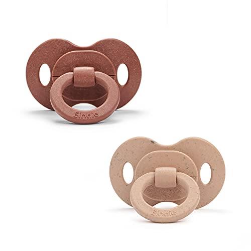Elodie Details Baby Schnuller 2er Pack, aus Bambus, Größe ab 3 Monaten - Tropfenform - Symmetrish - Naturkautschuk - Burned Clay/Blushing Pink