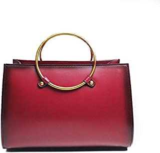 Persian Red Charlese Women's Tote Shoulder Bag Genuine Calf Leather Top Handle Satchel Handbag- Gorgeous gold hardware-Vintage style