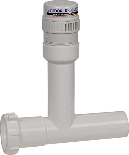 Studor 20391 Redi-Vent Air Admittance Valve with Tubular Tee Adapter, 1-1/2-Inch Connection