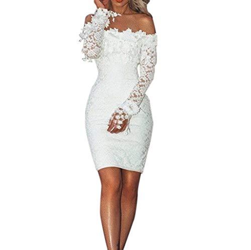 Toimothcn Women White Lace Dress Slash Neck Off Shoulder Cocktail Party Elegant Dress Bodycon Prom Gown(White,L)