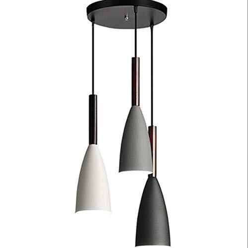 Sgvag Lámpara colgante LED de mesa, moderna, sencilla, de hierro, creativa, color negro/blanco/gris, 3 focos, con cuerda de metal, para comedor, salón, cafetería, oficina, etc.