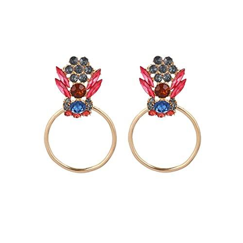 Pendientes de círculo Brillante Faux Cristal Perforado Ear Stud Oversizy GEM Elegante Dangle Pendiente para la Novia Joyería de Boda Oro
