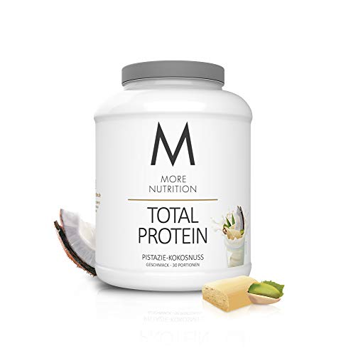 MORE NUTRITION Total Protein (1 x 1500 g) - Whey Eiweißpulver mit Casein, Aminosäuren und Laktase für Muskelaufbau (Pistazie Kokosnuss)