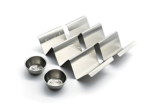 Taco Holder Stand - Set of 2 With 2 Sauce Cups - Stainless Steel Taco Rack With Handles, Signature 'Fiesta!' Design, Safe for Dishwasher, Oven & Grill