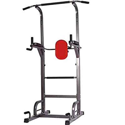 Midress Power Tower Workout Dip Station Fitness Dumbbell Rack Single Parallel Bars Pull-up 9 Levels Adjustable with Strength Training Workout Home Gym Exercise Equipment, Weight Capacity 660lbs