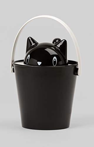 United Pets Crick Secchiello Porta Crocchette Gatto, di Design, Paletta Inclusa, Made in Italy, Nero