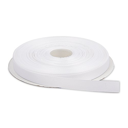 Topenca Supplies 1/2 Inches x 50 Yards Double Face Solid Grosgrain Ribbon Roll, White