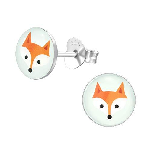 Laimons Mädchen Kids Kinder-Ohrstecker Ohrringe Kinderschmuck Fuchs Tier Wald Süß Platte Scheibe Braun Weiß aus Sterling Silber 925