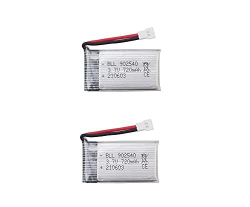 YUNIQUE Italia 2 Pezzi Batteria Lipo Ricaricabile (3.7v, 720mAh Lipo) per Rc Droni Quadricotteri Syma X5 X5C X5SC X5SW, Cheerson CX-30W, Skytech M68, Wltoys F949
