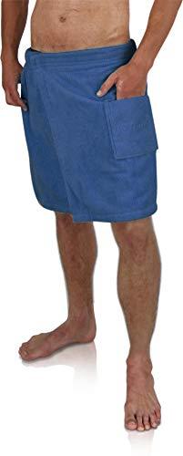 Saunakilt Sauna-Handtuch für Herren 100% Baumwolle mit praktischem Schnellverschluss Oeko-Tex® 100 Farbe Marine