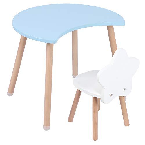 Aynefy - Conjunto de mesa y silla de actividades versátil, para niños, juego de mesa y silla de juguete para niños, lectura de la oficina de la guardería multifuncional en forma de cruzante (azul)