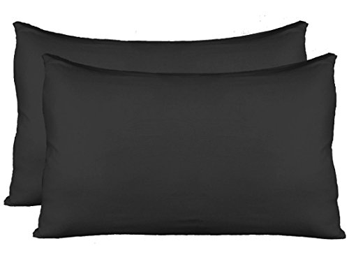 AUCOCU Stretch Jersey Pillow Cases with Invisible Zipper, Universal Size fit All King, Queen and Standard Size Pillows, Modal Rayon Spandex 180 Gram, Soft Than Cotton, Pack of 2, Black