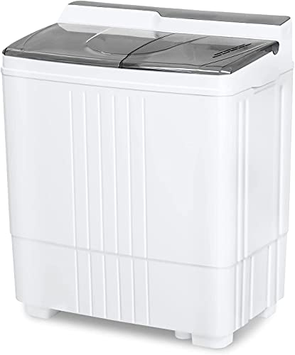 Portable Small Washing Machine, 21.6 Lbs Mini Compact Washer and Dryer Combo, 2 in 1 Apartment Washers with Twin Tub and Drain Pump for Laundry, Dorms, College, RV, Camping, (Gray)
