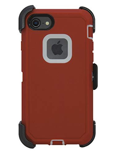 Hand-e Muscle Case for Apple iPhone 8 / iPhone 7, Triple Layer Protection (Defender), Drop Proof, Hands Free Kickstand & Belt Clip – Red/White