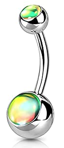 Via Mazzini Stainless Steel Round Shiny Stone Belly Button Navel Ring for Women and Girls (BB0069)