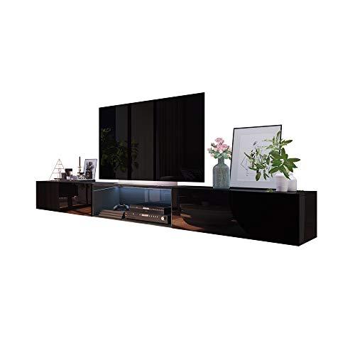 Selsey Leo TV Board / TV Schränke in Schwarz Hochglanz hängend modern 300 cm
