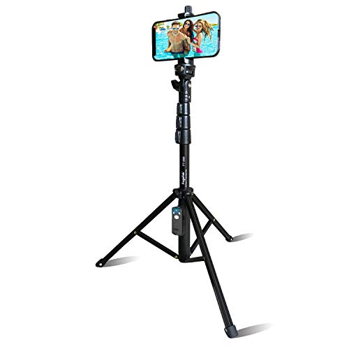 "Selfie Stick & Tripod Fugetek, Integrated, Portable All-in-One Professional, Heavy Duty Aluminum, Bluetooth Remote Compatible with Apple & Android Devices, Non Skid Tripod Feet, Extends to 51"", Black"