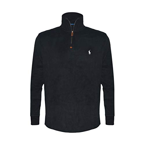 Polo Ralph Lauren Mens Half Zip French Rib Cotton Sweater (Medium, Black/White Pony)