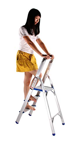 FixtureDisplays Folding 3-Step Aluminium Alloy Ladder with Hand Grip and Aluminium Steps, Silver Finish15601 15601
